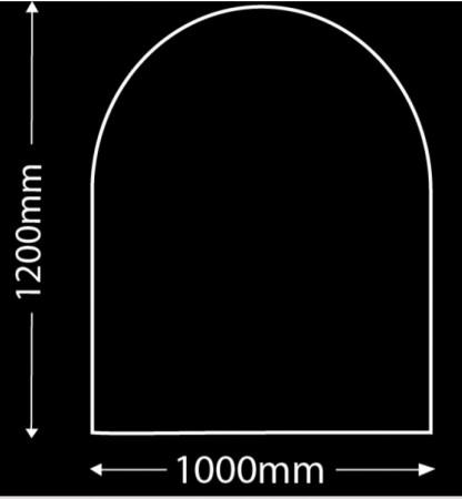 Glasplaat Zwart-120X100-Rond (lichte besch.) Aanbieding