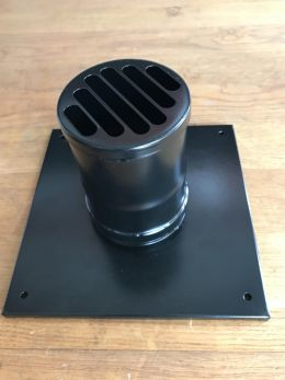 80mm MUURKAP / ROOSTER (tbv zwarte pijp)